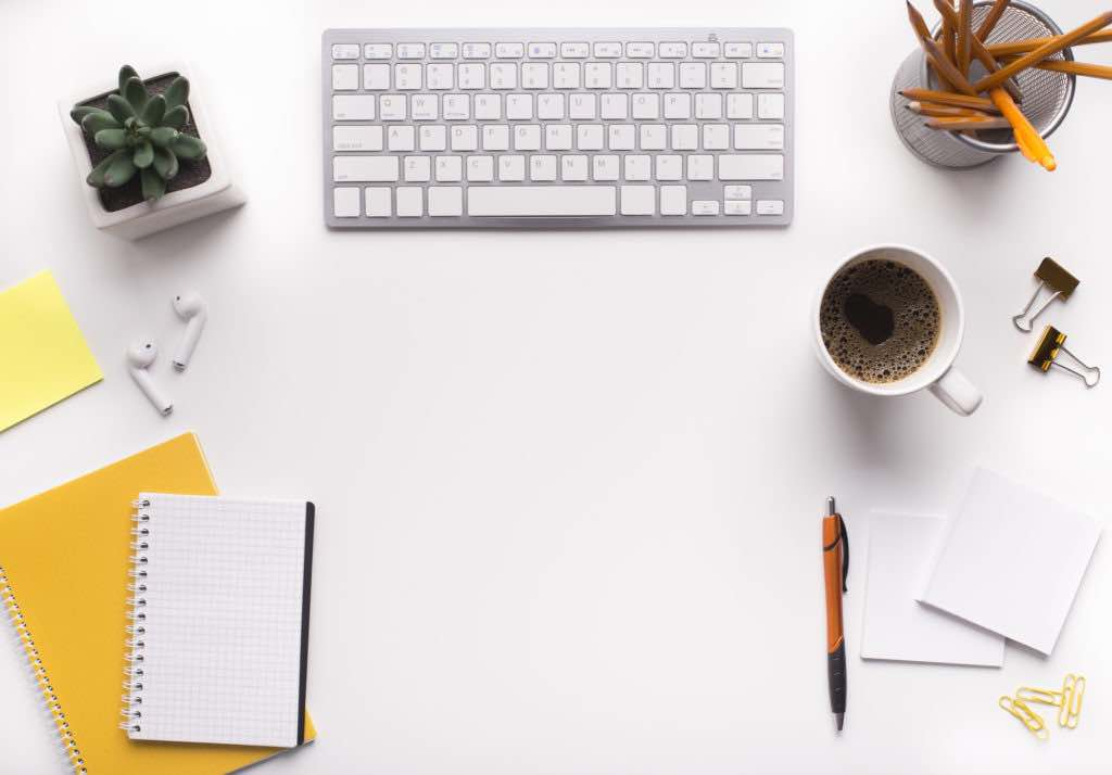Creative supplies. White office workplace with a lot of office stationery